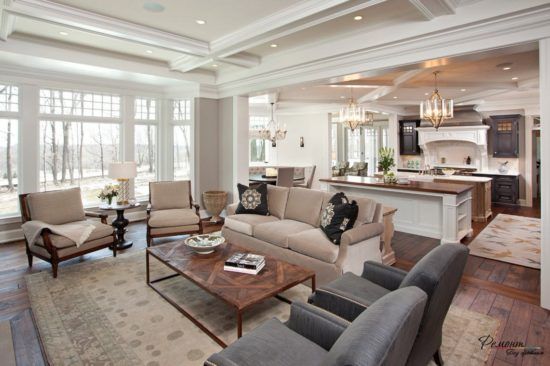 Дизайн столовой + кухни + гостиной в доме