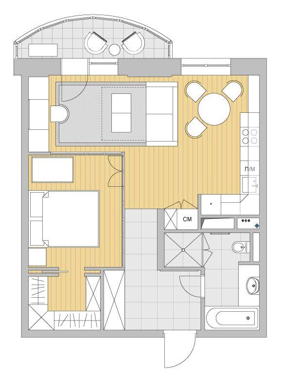 Планировка однокомнатной квартиры: как сделать из однушки трешку?