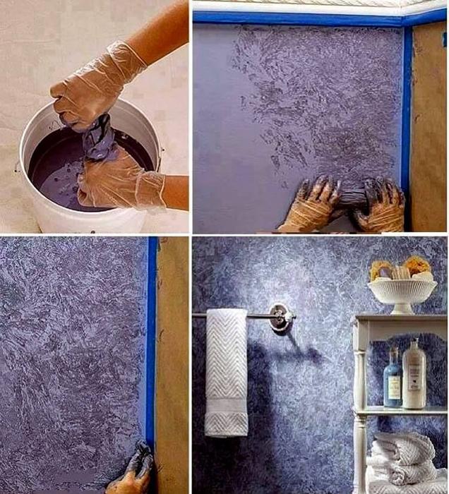 Как создать красвую фактурную покраску стен при помощи обычной тряпки: пошаговая рекомендация.